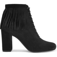 Saint Laurent - Babies fringed suede boots