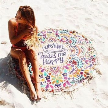 New Beach Cover Up Round Tassel Cotton Pareo Beach Towel Beach Mat Shawl Yoga Mat Summer Pareo Sarong Cloak Bathing Suit