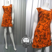 Vintage 60s Mini Dress Orange Corduroy 1960s Mod Square Neck Gogo Outfit Shift Dress Flower Power Psychedelic Print Hippy Clothes Sleeveless