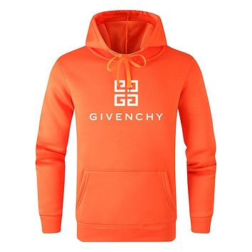 Givenchy Autumn Winter Fashion Women Men Casual Long Sleeve Hoodie Sweater Top Sweatshirt Orange