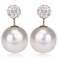 Gum Tee Mise en Style Tribal Earrings - Crystal Mix Pearl White