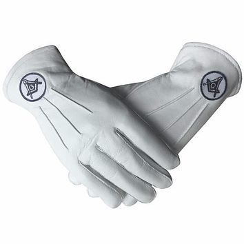Soft Leather Masonic Gloves with Embroidery