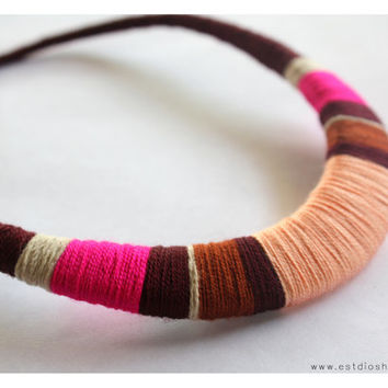 dark red, fucsia and pink necklace - statement crochet necklace - colorful summer