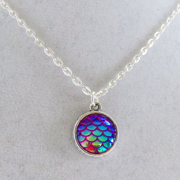 Purple mermaid necklace, purple mermaid scales, mermaid scale necklace, fish scale necklace, gifts for her, birthday gifts, pretty necklace