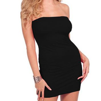 2018 Top Fashion Womens Summer Dresses Strapless Female Clothes Sleeveless Beach Dress Bodycon Tube Solid Dress Womens