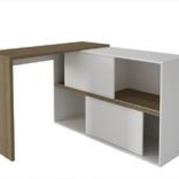 Accentuations by Manhattan Comfort Bari Bookcase Desk  with 4 Shelves in Oak and White