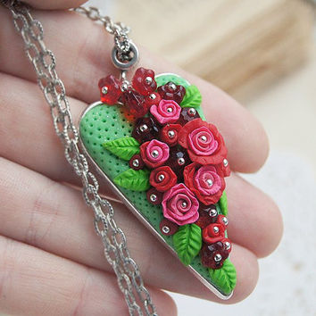 Mothers day gift heart necklace, red rose floral pendant, polymer clay flower necklace / MADE TO ORDER