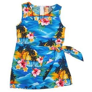 Skyburst Blue Hawaiian Girl's Sarong Floral Dress