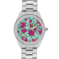 Betsey Johnson Floral Pattern Dial Boyfriend Watch - Silver