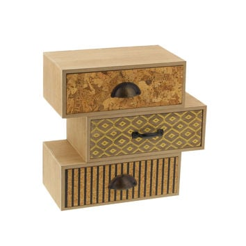 Benzara Avery Jewelry Box, Natural Wood Finish