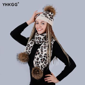 2017 Piece Scarf hat The leopard print Adult Winter Raccoon Fur Hats pompom Cap Natural Fur Hat For women