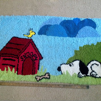 "Vintage Snoopy & Woodstock Loop Rug 26x48"" Large area carpet Peanuts Gang Schulz Unmarked Unbranded Collectible Home Decor Toy Game Room"