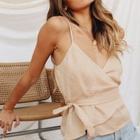 VG Curated Linen Wrap Tie Top // Sand