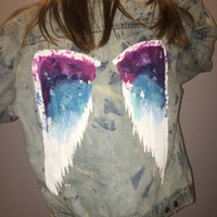 Angel Wings Hand Painted Vintage Wrangler Jean Jacket