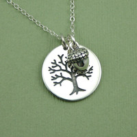 Acorn Tree Necklace - sterling silver - tree of life pendant - handmade - jewelry