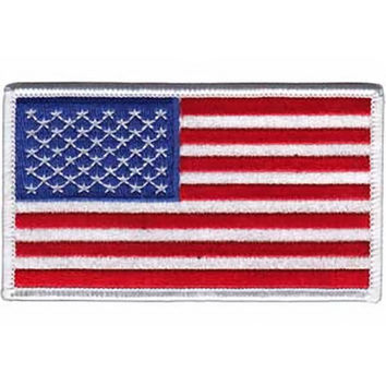 American Flag Iron-On Patch White Trim