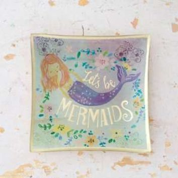 Let's Be Mermaids Glass Tray
