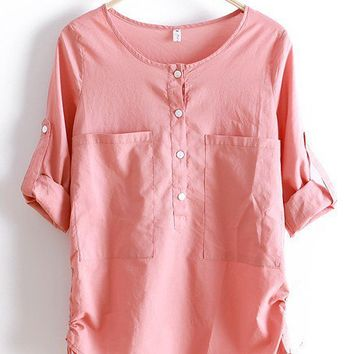 Pink Round Neck Long Sleeve Loose Pockets Cotton Shirt - Sheinside.com