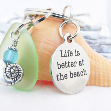 Life is Better at the Beach Seaglass Keychain