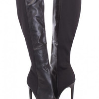 Black Knee High Heel Boots Faux Leather Nylon