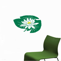 Water Lily Lotus Flower Wall Decals - Wall Vinyl Decal - Interior Home Decor - Housewares Art Vinyl Sticker  L60