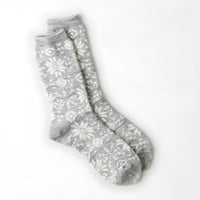 AEO Fair Isle Crew Sock, Light Heather Grey | American Eagle Outfitters