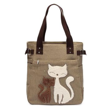 Streetstyle  Casual Women Casual Cute Cat  Large Capacity Canvas Handbag Shoulder Bag Totes