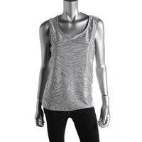 JM Collection Womens Shimmer Textured Tank Top