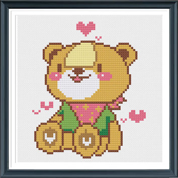 Counted Cross Stitch Pattern,Cross Stitch Little Bear Embroidery Pattern,Cross Stitch Design,Cross Stitch Graph Chart,