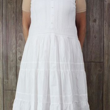 Cute Coldwater Creek 16 size Dress White Tiered Prairie Womens Summer Lined