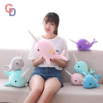 sequin narwhal toys unicornio plush Aquatic aniamal toy stuffed unicorn horn whale throw Pillow Baby doll Fish toys for children