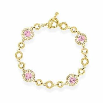 18K Gold Over Sterling Silver Light Pink & Clear CZ Circle Link Bracelet