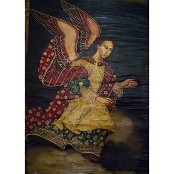 Cuzco School Antique Oil Painting on Canvas, Religious Catholic Pervuian Art