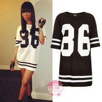 New Womens Baggy Oversized American Baseball 86 Print Varsity Celeb T-Shirt Top