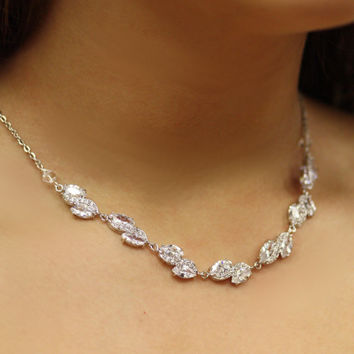 Backdrop Lariat, Bridal Necklace, Long Back Chain , Leaves Necklace, Drop necklace, Cubic Zircon Necklace, Vintage Jewelry ,
