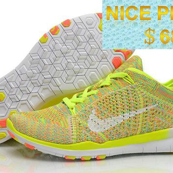 Sneaker paint Men Nike Free TR Flyknit Volt Multi Color White Tour Yellow shoes