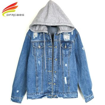 New 2018 Spring Hooded Denim Jacket Women New Fashion Cool Hole High Quality Denim Coat Woman Jeans Jackets With Double Pockets