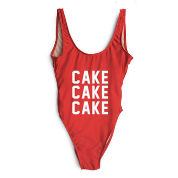 CAKE CAKE CAKE Red High Cut One Piece Bathing Suit