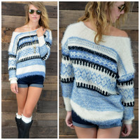 SZ M/L Blue Skies Striped Sweater