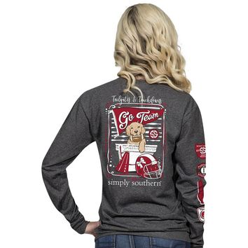 "Simply Southern ""Red & Black Football"" Long Sleeve Tee"