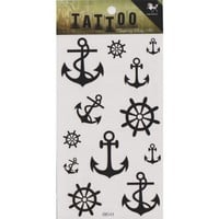 "MP Temporary Tattoo Fake Tattoo Sticker with Black Anchor and Helm Pattern Size 3.06""X5.13"" HM544 TDP 0616"