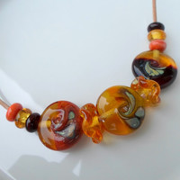 Lampwork Necklace, Handmade Jewelry, Glass Beaded Necklace, Statement Necklace, Handmade Lampwork Glass Jewelry Gift Ideas