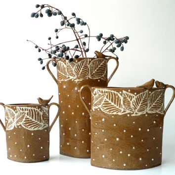 Square Ceramic Vase with Leaves and A Couple of Songbirds, Lovebirds, Minimalist, Brown and White Flower Vase by Cecilia Lind, StudioLind