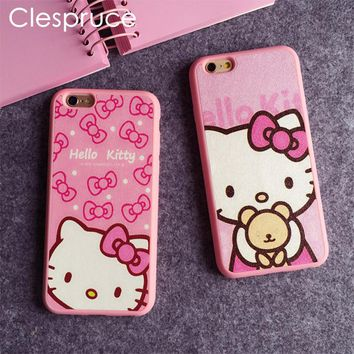 Cartoon Hello kitty Silk TPU soft pink color frame case For iphone 7 6 6S Plus 5 5s SE phone case back cover For iphone 8 8plus