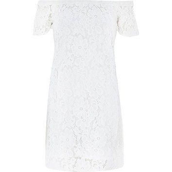River Island Womens Cream lace bardot swing dress