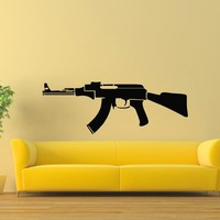 Wall Decal Vinyl Sticker AK-47 Gun Weapon Military Decor Sb441