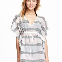 Old Navy Womens Embroidered Stripe Swim Cover Ups