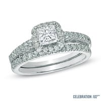 Celebration 102™ 1-1/5 CT. T.W. Princess-Cut Diamond Bridal Set in 18K White Gold (I/SI2)