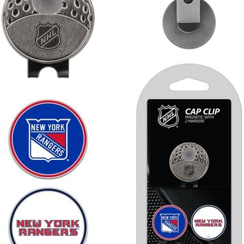 NHL New York Rangers Hat Clip & 2 Magnetic Golf Ball Markers