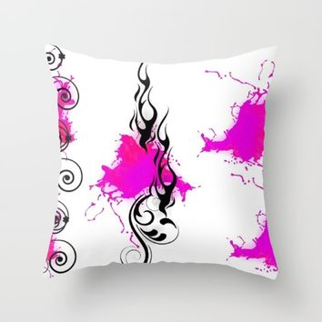 HOT PINK FLAMES Throw Pillow by violajohnsonriley
